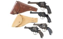 Four British Double Action Revolvers