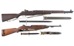 Two U.S. Military Semi-Automatic Long Guns with Bayonets