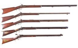 Five American Half Stock Percussion Rifles
