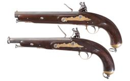 Two Reproduction Tower Flintlock Pistols  with Bring Back Papers