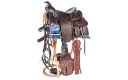 Heiser Tooled Saddle, Rifle Scabbards, and Related Items