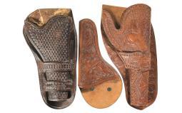 Three Tooled Leather Holsters