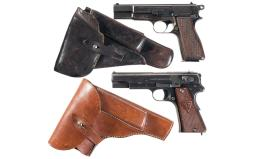 Two Nazi Marked Semi-Automatic Pistols with Holsters