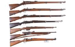 Seven European Military Bolt Action Long Guns