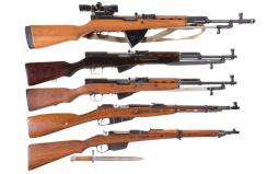 Five Carbines with Bayonets