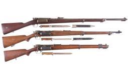 Three Krag-Jorgensen Bolt Action Rifles with Bayonets