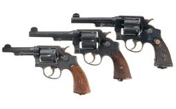 Three Military Smith & Wesson Double Action Revolvers