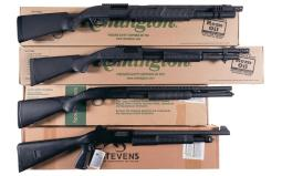Four Slide Action Shotguns with Boxes