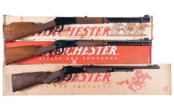 Three Winchester Sporting Lever Action Long Guns with Boxes