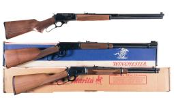 Three Sporting Lever Action Long Guns with Boxes