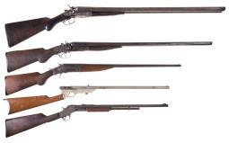 Five Long Guns -A) H. Pieper Belgian Side by Side Hammer Shotgun