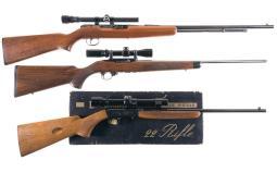 Three Semi-Automatic Rifles with Scopes
