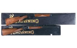 Two Browning Lever Action Rifles with Boxes