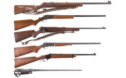 Five Long Guns and an Unmarked Barrel and Receiver
