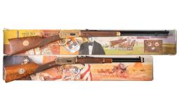 Two Winchester Model 94 Commemorative Lever Action Long Guns wit