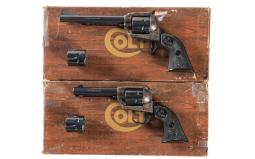 Two Colt Single Action Dual Cylinder Revolvers with Boxes