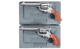 Two Ruger Vaquero Single Action Revolvers with Cases