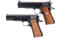 Two Colt MK IV/Series 70 Government Model Semi-Automatic Pistols
