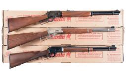Three Marlin Lever Action Long Guns with Boxes