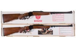 Two Ruger No. 1 Single Shot Falling Block Rifles with Boxes