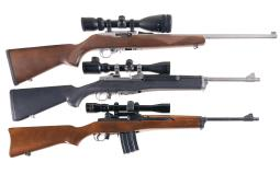 Three Semi-Automatic Rifles with Scopes -A) Ruger Model 10/22 Ri