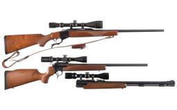Two Scoped Sporting Single Shot Rifles