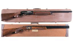Two Factory Engraved Shotguns with Cases