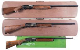 Three Factory Engraved Remington Semi-Automatic Shotguns