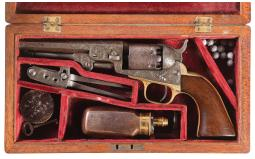 Engraved Colt Model 1849 Percussion Revolver with Case