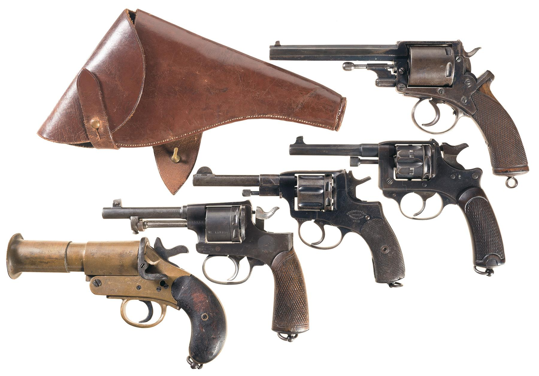Four european military revolvers and a flare pistol revolver firearms auction lot 412