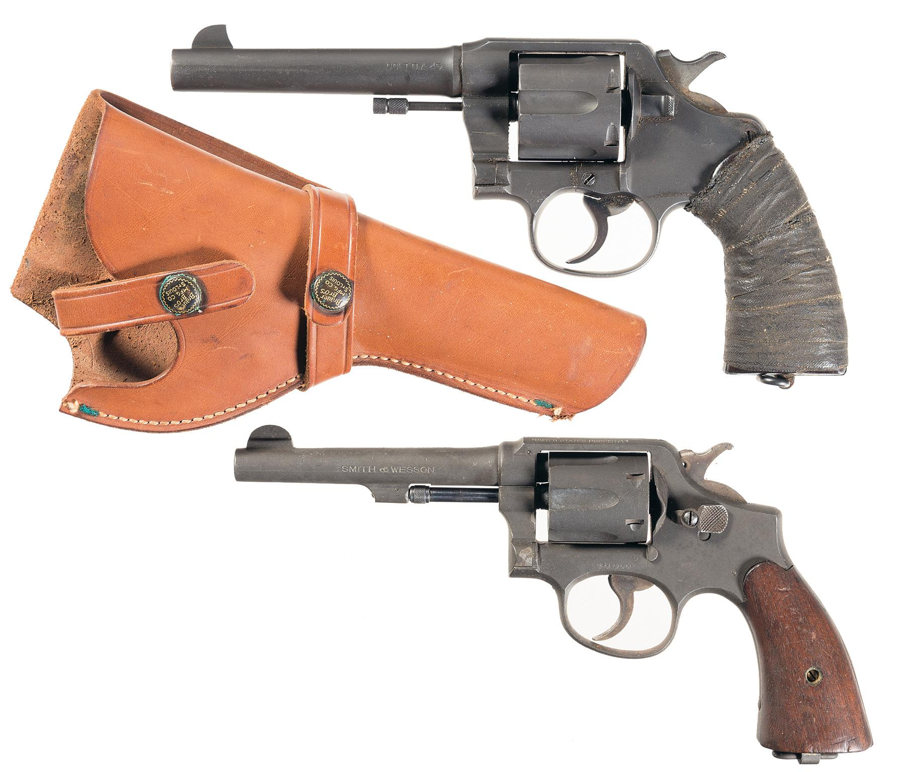 Two double action military revolvers revolver firearms auction lot 6321
