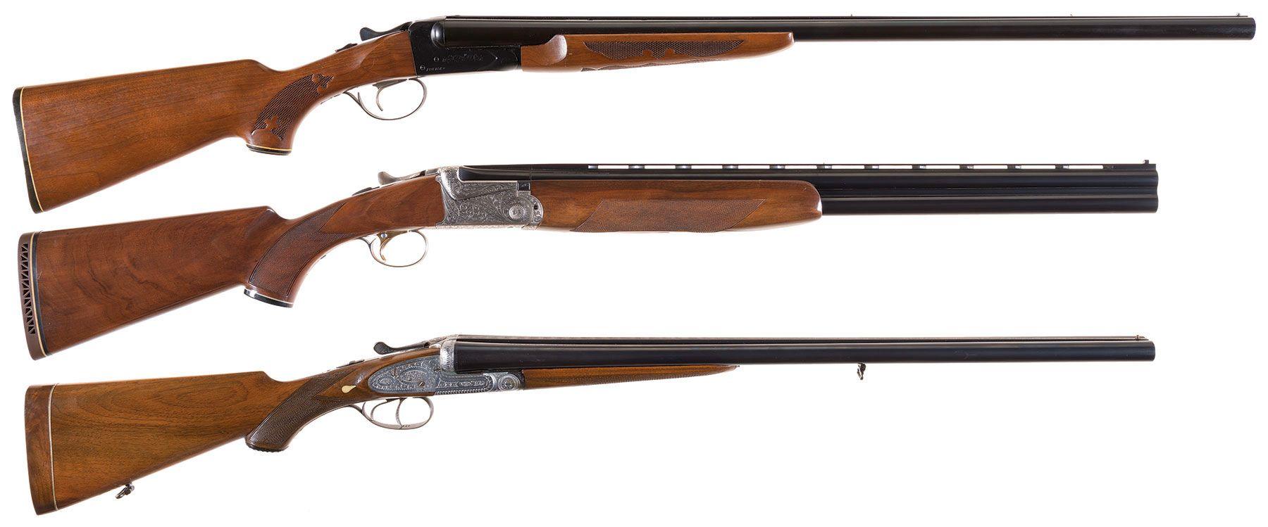 Three Shotguns -A) Fox Savage Model B Double Barrel Shotgun