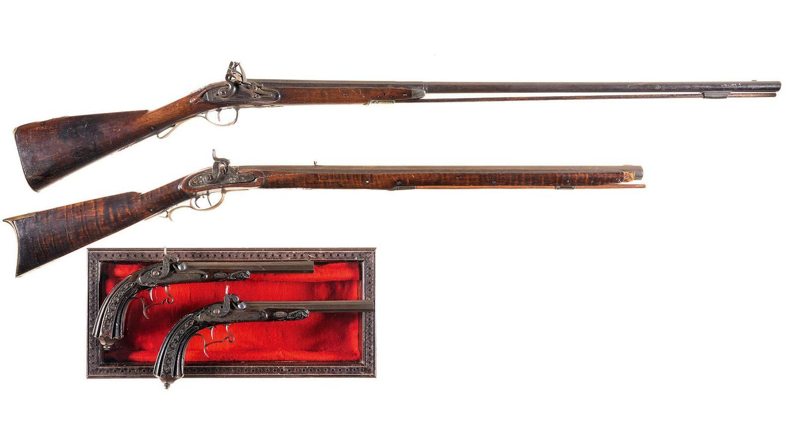 Four Antique Muzzle Loading Firearms