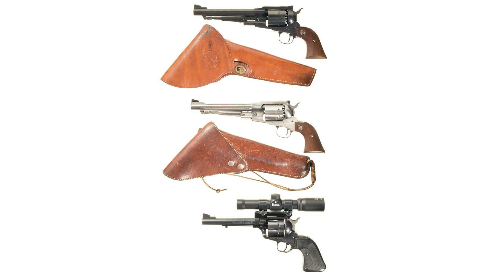 Three Ruger Single Action Revolvers with Holsters