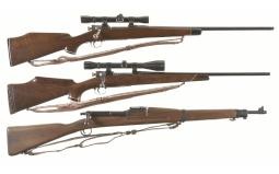 Two Springfield Bolt Action Rifles and Training Rifle