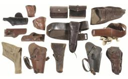 Group of Thirteen Assorted Holsters and Two Pouches
