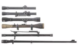 John Rigby Rifle Barrel and Five Rifle Scopes