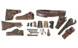 Group of Assorted Leather Goods and Firearm Parts