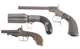 Three Engraved Antique Hand Guns