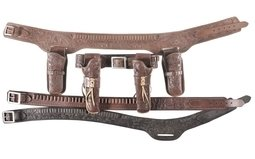 Group of Two Tooled Heiser Belt Rigs and Two Cartridge Belts