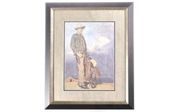 Framed and Matted Print of Cowboy with Saddle