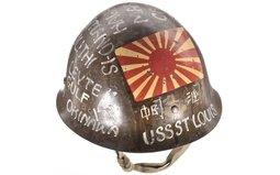 Decorated WWII-Era Japanese Military Helmet
