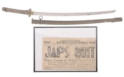 Japanese NCO Style Sword with Framed Newspaper Cover
