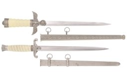 Two German Nazi Style Daggers with Scabbards
