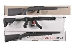 Three Semi-Automatic Rifles with Boxes