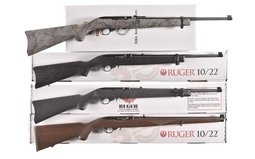 Four Ruger 10/22 .22 Caliber Semi-Automatic Rifles