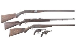 Three Long Guns and Two Revolvers
