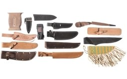 Fourteen Assorted Knife Sheaths