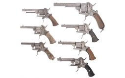 Seven Pinfire Revolvers