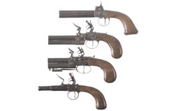 Four Engraved Antique Pistols